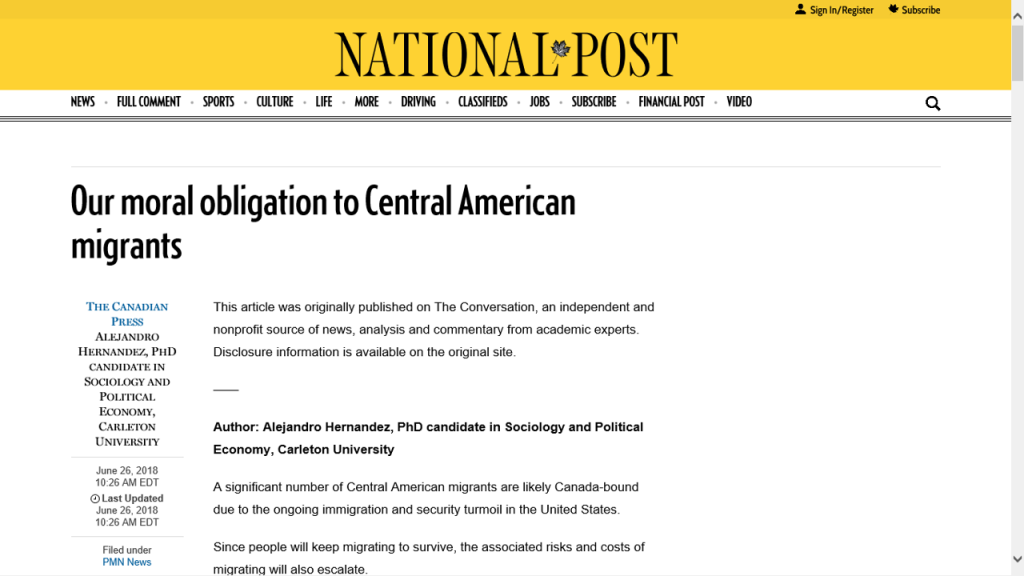 Central America, Immigration, Refugee, Moral obligation